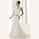 Luxury Taffeta High Neck Backless Floor-length Mermaid Wedding D