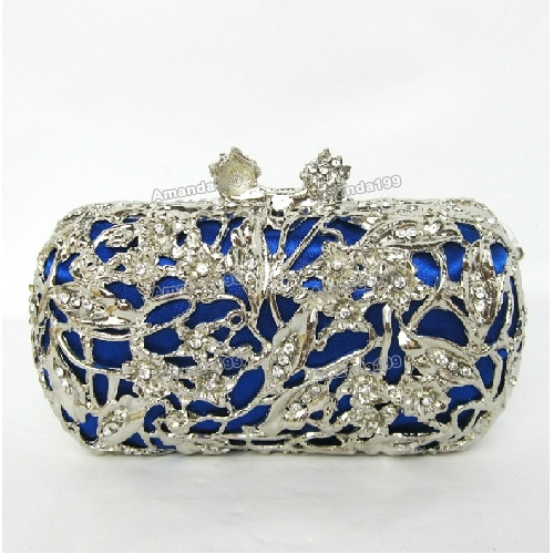 Ladies Royal Blue Diamond Elegant Evening Bags